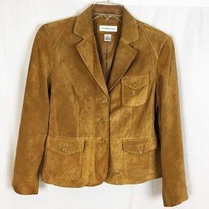 PRESTON & YORK Camel Tan Suede/Leather Blazer-L